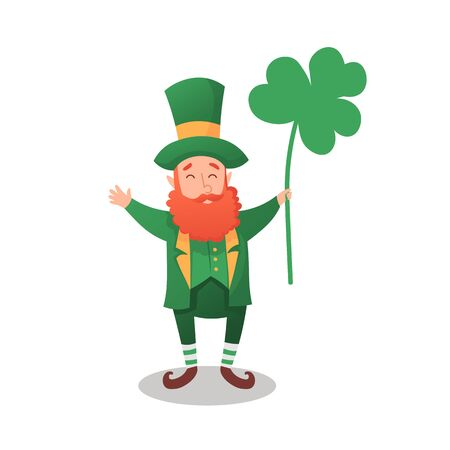 Happy Saint Patrick's Day. Character with green hat. Cartoon funny leprechaun with clover.