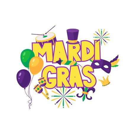 Mardi gras brochure. Vector logo with hand drawn lettering. Greeting card with shining beads on traditional colors background Stock fotó - 129400538