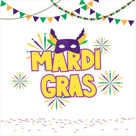Mardi gras brochure. Vector logo with hand drawn lettering. Greeting card with shining beads on traditional colors background 矢量图像