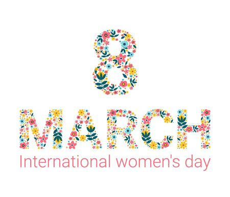 Banner for the International Womens Day. Flyer for March 8 with the decor of flowers. Invitations with the number 8 in the style of cut paper with a pattern of spring plants