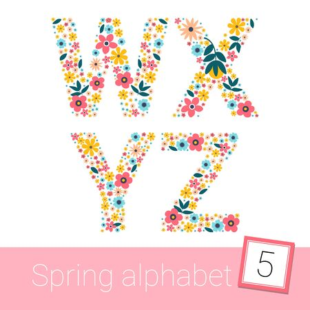 Retro spring Flower Alphabet Uppercase. vector illestration