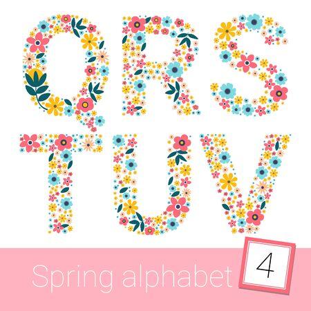 Retro spring Flower Alphabet Uppercase. illestration. Q R S T U V