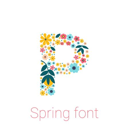 Spring font with flowers. letter P isolated on white Background