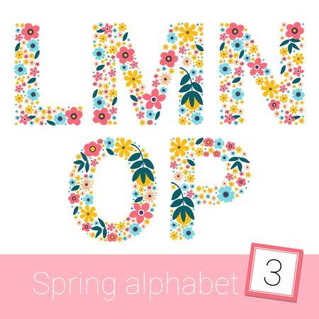 Retro spring Flower Alphabet Uppercase. vector illestration. L M N O P Stock fotó - 129400545