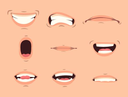 Cartoon cute mouth expressions facial gestures set with pouting lips smiling sticking out tongue isolated vector illustration