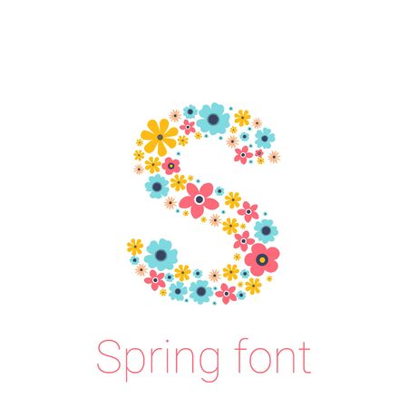 Spring font with flowers. letter S isolated on white Background