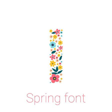Spring font with flowers. letter I isolated on white Background