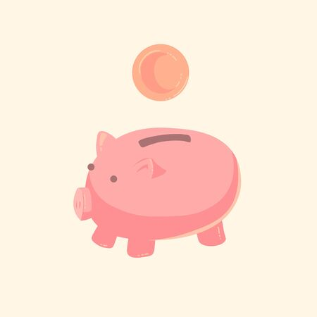 Pig piggy bank with coins vector illustration in flat style. The concept of saving or save money or open a bank deposit. The idea of an icon of investments in the form of a toy pig piggy bank. Ilustração