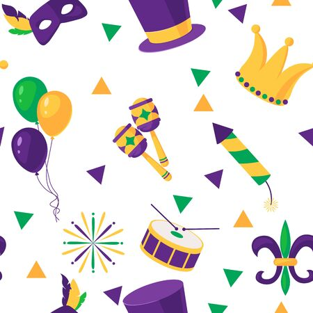 Mardi Gras seamless pattern with balloon, carnival mask, confetti, trumpet, crown, feathers, harlequin, beads, garland, jester hat on white background 矢量图像