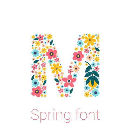 Spring font with flowers. letter M isolated on white Background 矢量图像