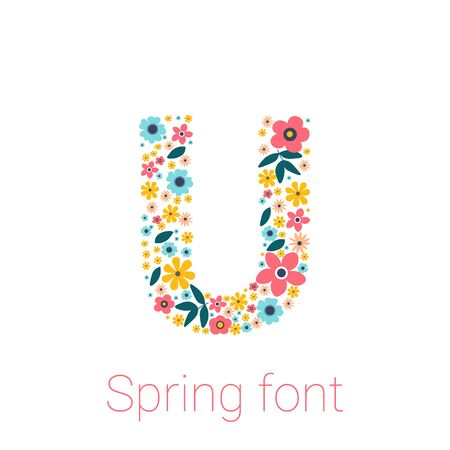 Hello Spring Flowers Text Background isolated on white Background
