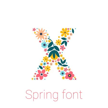 Spring font with flowers. letter X isolated on white Background