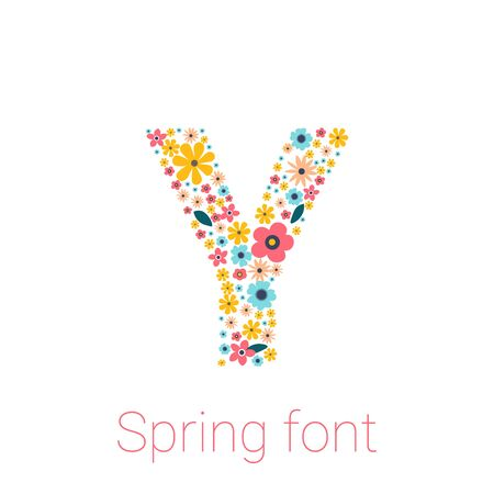 Spring font with flowers. letter Y vector isolated on white Background