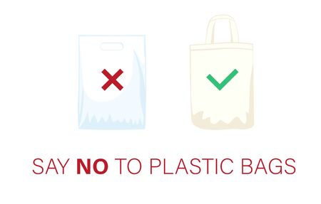 Pollution problem concept. Say no to plastic bags, bring your own textile bag. Cartoon styled images with signage calling for stop using disposable polythene package.
