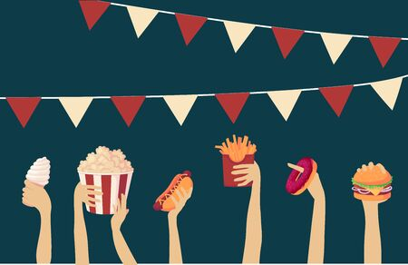 Street food festival. vector illustration high quality hands hold fast food and raise it up