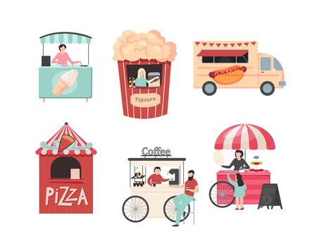 roti seller with cart - Street food festival. vector illustration high quality