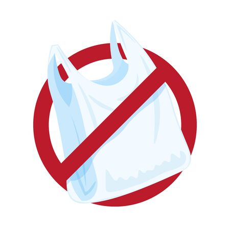 Say no to plastic bags, bring your own textile bag. Cartoon styled images with signage calling for stop using disposable polythene package. Vector illustration isolated on white