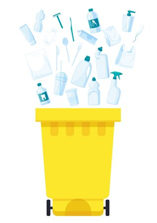 Plastic waste collection on white. Plastic bottles and another garbage, non-recyclable trash Illustration
