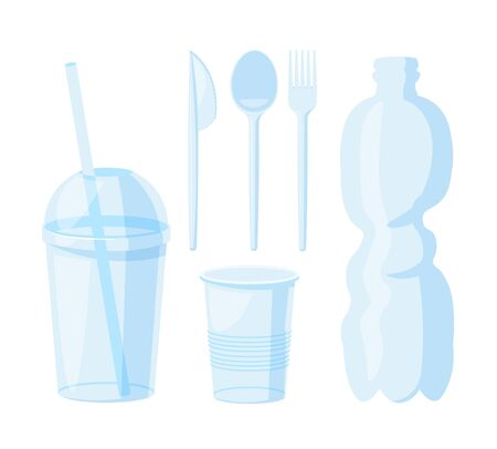 A set of plastic utensils in outline art. Editable Clip Art.