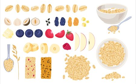 Realistic muesli on transparent background set with isolated images of cereals spreading and bars with text vector