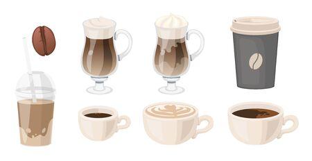 Coffee set. latte grain glasse takeaway coffee ice espresso cappuccino americano Vector illustration