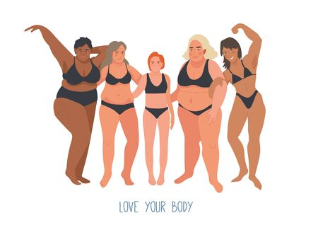Multiracial women of different height, figure type and size dressed in swimsuits standing in row. Female free flat characters. Body positive movement and beauty diversity. Vector illustration.