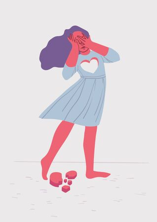 psychological concept of the difficulty of parting. the girl has lost her heart and is crying. Colorful vector illustration.