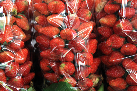 plastic bags: Strawberry in plastic bags