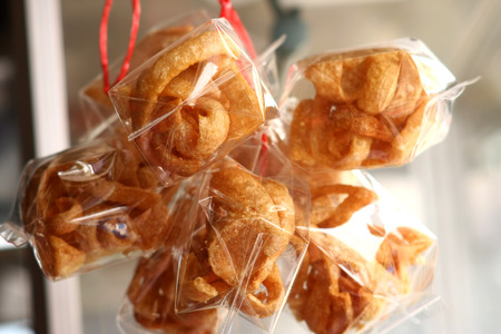 chicharon: Pork rinds in plastic packaging Stock Photo