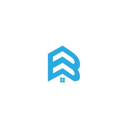 Diseño de logotipo de bienes raíces B. Diseño de icono de letra B para empresa inmobiliaria. Diseño de logotipo de icono de inicio B. Diseño de logotipo de empresa inmobiliaria. Logotipo de la empresa constructora e inmobiliaria.