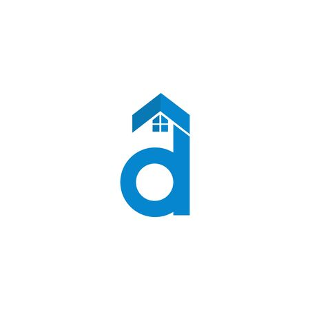 Logo design of D in vector for construction, home, real estate, building, property. Minimal awesome trendy professional logo design template on white background. Ilustração