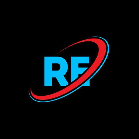 RE R E letter logo design. Initial letter RE linked circle uppercase monogram logo red and blue. RE logo, R E design. re, r e Иллюстрация
