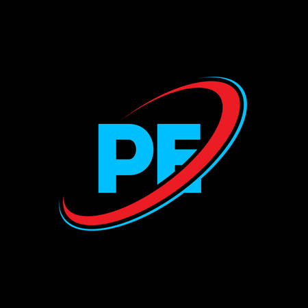 PE P E letter logo design. Initial letter PE linked circle uppercase monogram logo red and blue. PE logo, P E design. pe, p e