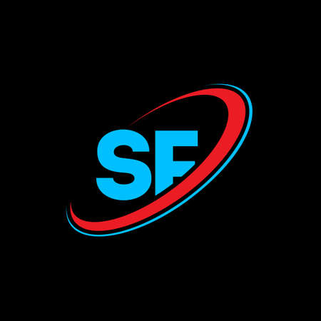 SF S F letter logo design. Initial letter SF linked circle uppercase monogram logo red and blue. SF logo, S F design. sf, s f