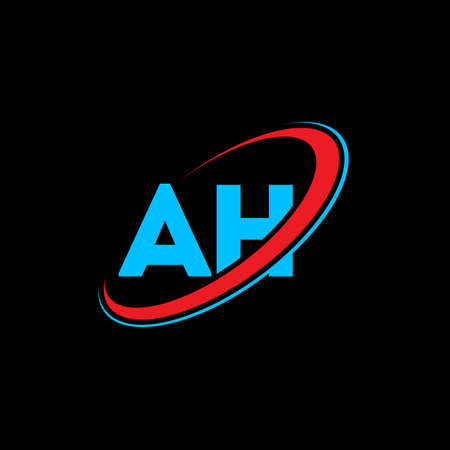 AH A H letter logo design. Initial letter AH linked circle uppercase monogram logo red and blue. AH logo, A H design. ah, a h
