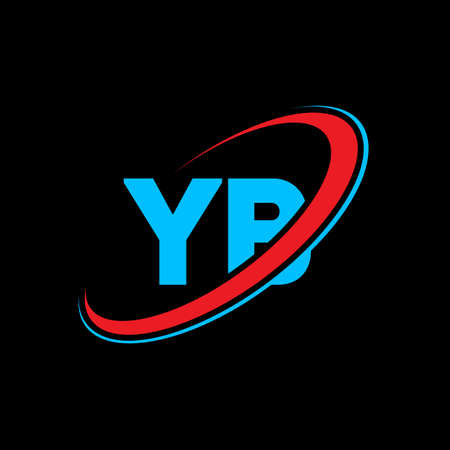 YB Y B letter logo design. Initial letter YB linked circle uppercase monogram logo red and blue. YB logo, Y B design. yb, y b Иллюстрация