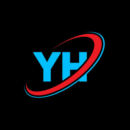 YH Y H letter logo design. Initial letter YH linked circle uppercase monogram logo red and blue. YH logo, Y H design. yh, y h