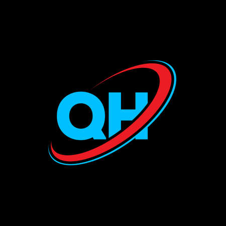 QH Q H letter logo design. Initial letter QH linked circle uppercase monogram logo red and blue. QH logo, Q H design. qh, q h