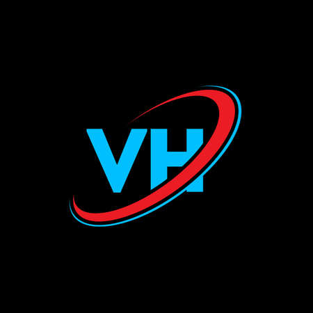VH V H letter logo design. Initial letter VH linked circle uppercase monogram logo red and blue. VH logo, V H design. vh, v h