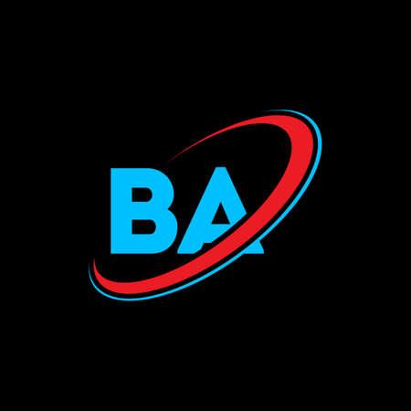 BA B A letter logo design. Initial letter BA linked circle uppercase monogram logo red and blue. BA logo, B A design. ba, b a