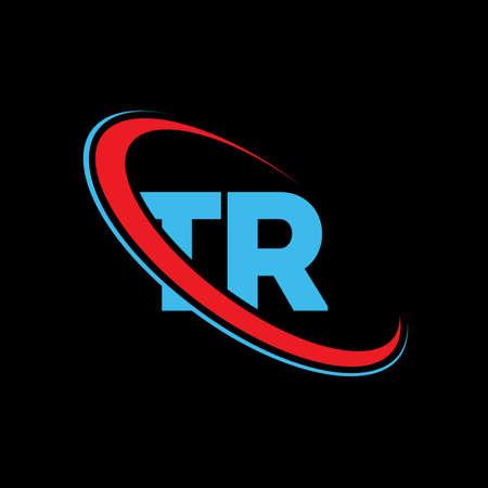 TR T R letter logo design. Initial letter TR linked circle uppercase monogram logo red and blue. TR logo, T R design. tr, t r Logó