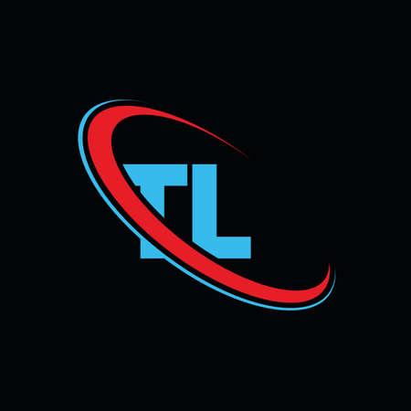 TL T L letter logo design. Initial letter TL linked circle upercase monogram logo red and blue. TL logo, T L design. tl, t l