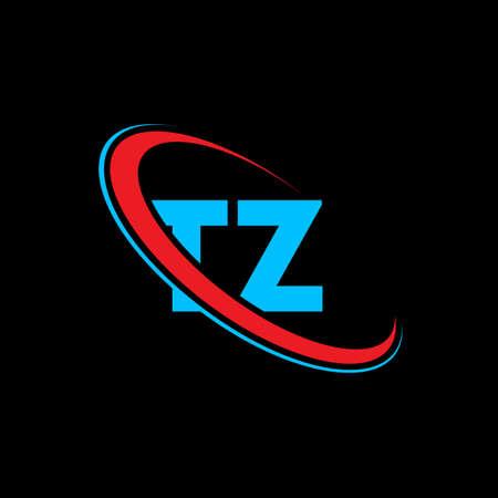 TZ T Z letter logo design. Initial letter TZ linked circle uppercase monogram logo red and blue. TZ logo, T Z design. tz, t z Logó