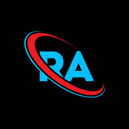 RA R A letter logo design. Initial letter RA linked circle uppercase monogram logo red and blue. RA logo, R A design. ra, r a