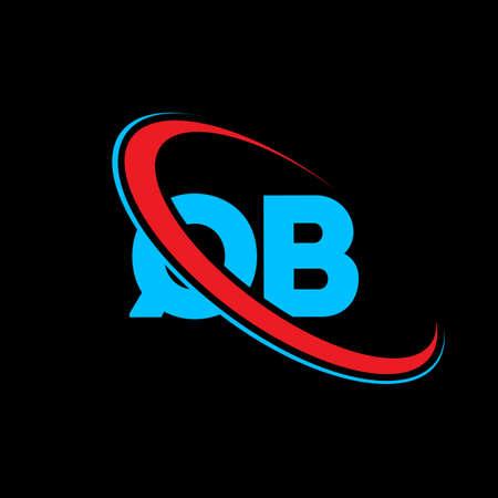 QB Q B letter logo design. Initial letter QB linked circle uppercase monogram logo red and blue. QB logo, Q B design. qb, q b 矢量图像