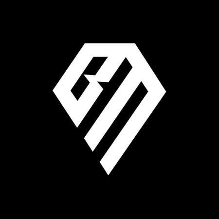 BM B M letter logo design. Initial letter BM monogram on black background. B M logo. bm icon logo. MB logo template. MB Alphabet letter icon. mb icon. MB letter design on black background.
