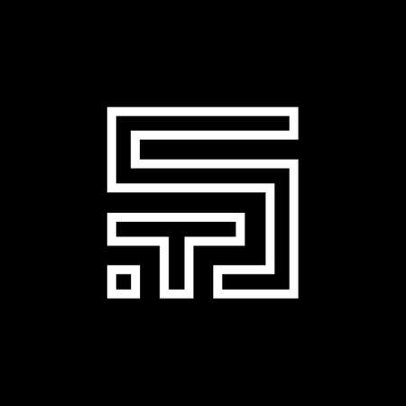 ST letter logo design. S T logo design. ST Vector Logó