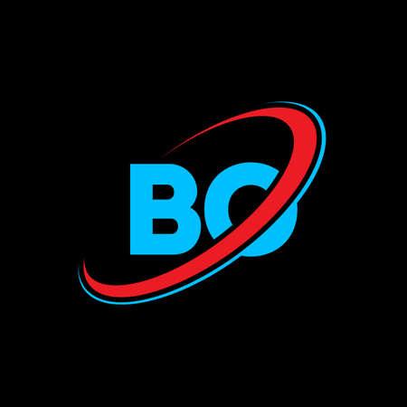 BO B O letter logo design. Initial letter BO linked circle uppercase monogram logo red and blue. BO logo, B O design. bo, b o, B&O 矢量图像