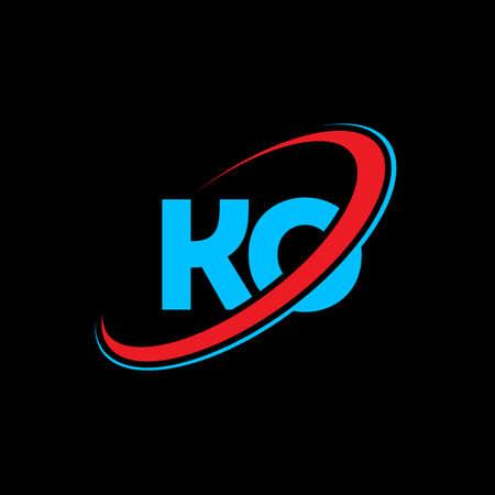 KO K O letter logo design. Initial letter KO linked circle uppercase monogram logo red and blue. KO logo, K O design. ko, k o, K&O