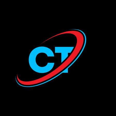 CT C T letter logo design. Initial letter CT linked circle uppercase monogram logo red and blue. CT logo, C T design. ct, c t